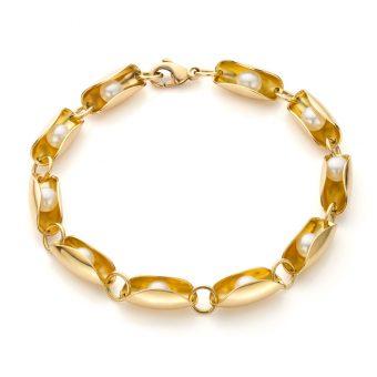 MOYA geel gouden oesterarmband met rollende parels
