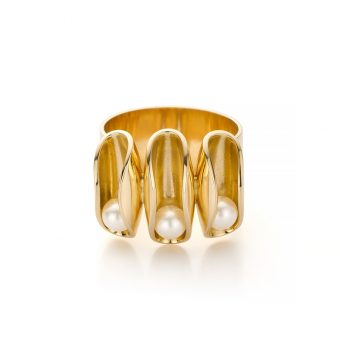 MOYA Oester3 ring met rollende parels
