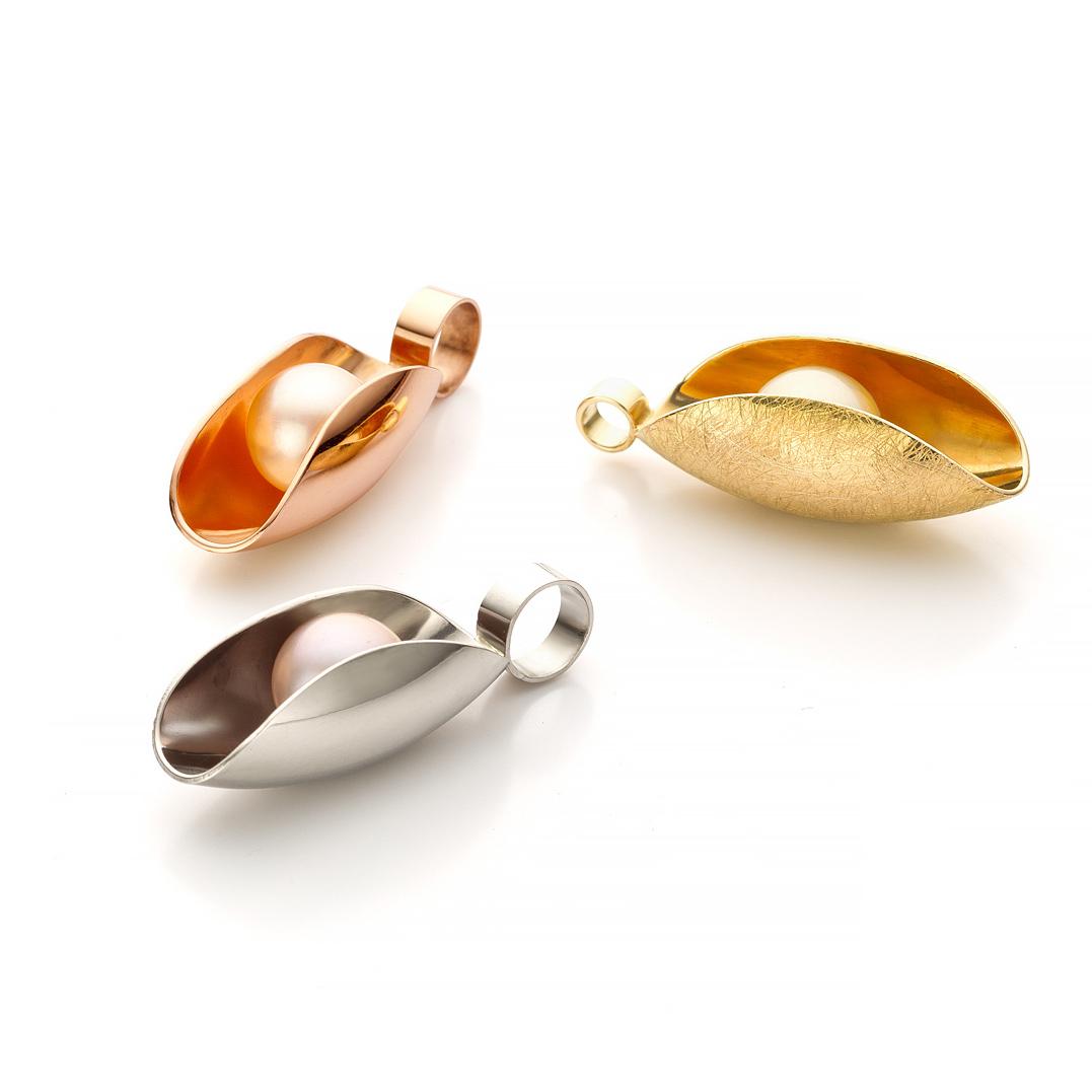 MOYA oester hanger drie kleuren goud