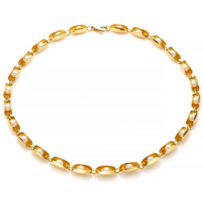 MOYA oester collier 18k goud met rollende parels