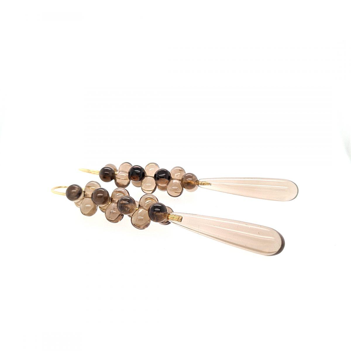 MOYA oorbellen met rookkwarts